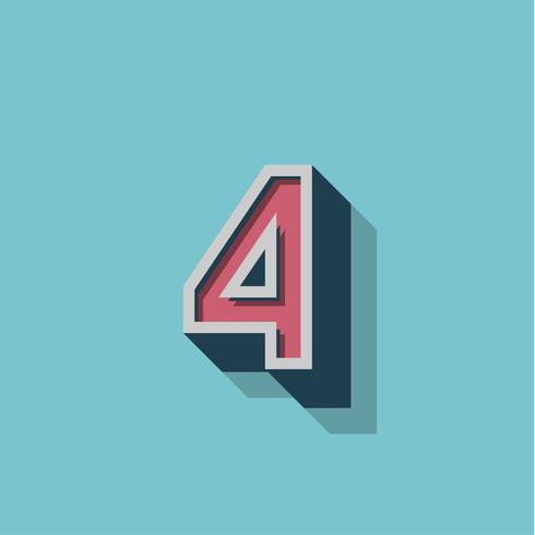 Retro personaggio 3D da un fontset, illustrazione vettoriale