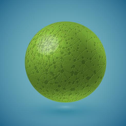 Verbonden groene bol, vectorillustratie