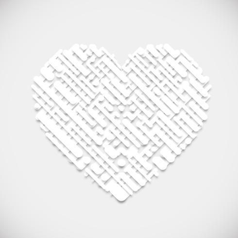 Forma bianca di un cuore, illustrazione vettoriale