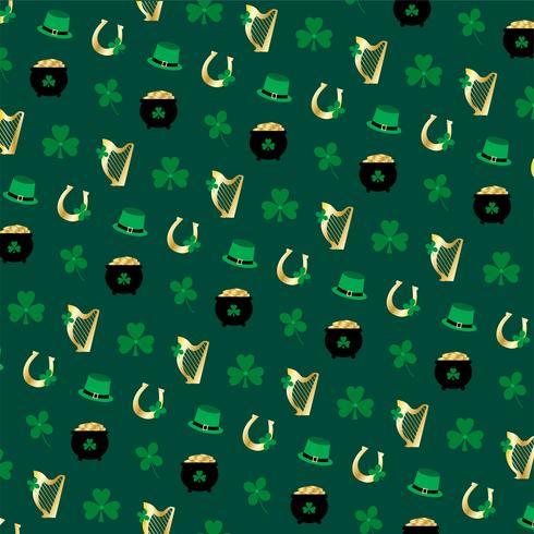 Saint Patrick's Day  harp horseshoe and shamrock pattern