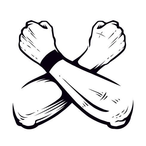 Gekreuzte Hände geballter Fäuste-Vektor