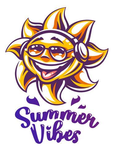 Tecknad sol i hörlurar och solglasögon