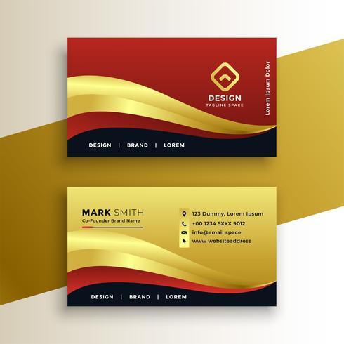 plantilla de tarjeta de visita de oro premium