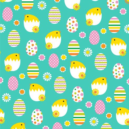 hatching Easter Chicks and eggs background pattern vector