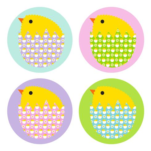 Easter chicks in patterned eggs vector