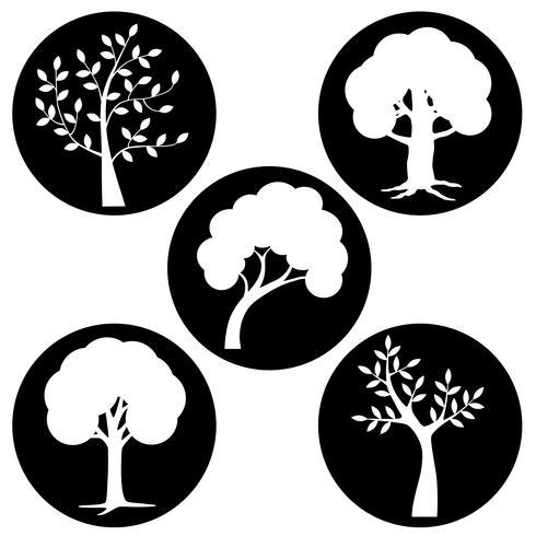 white tree silhouettes in black circles