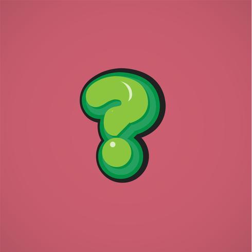 Personagem de quadrinhos verde de um fontset, ilustração vetorial