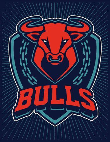 Plantilla de diseño de emblema de la mascota de Bull