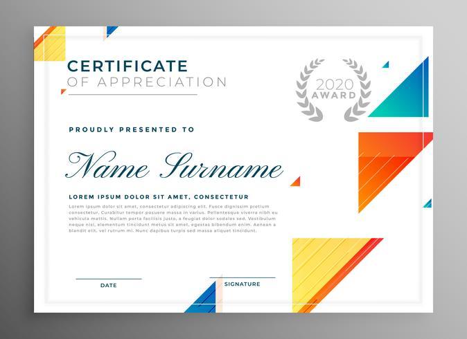 elegante moderno certificato di progettazione del modello di apprezzamento