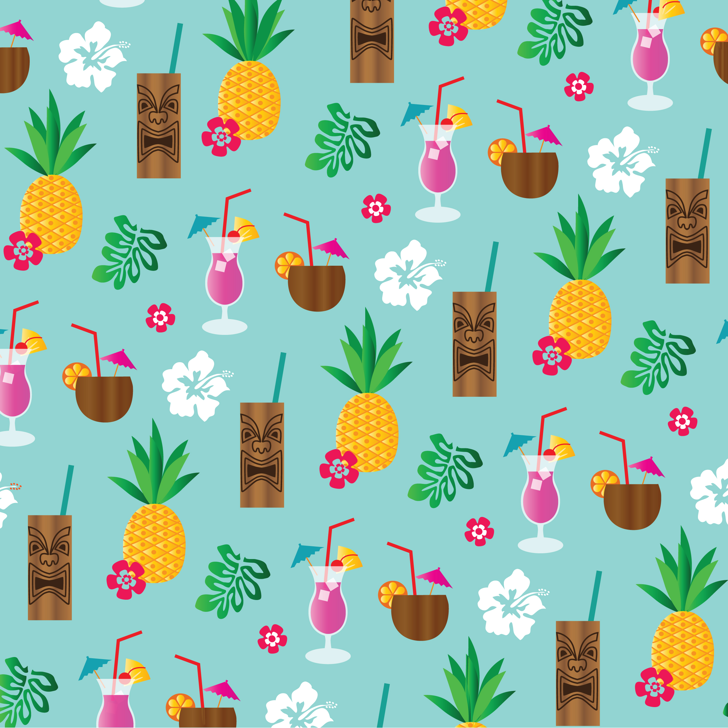 Tropical Tiki Drinks Background Pattern