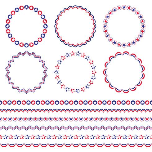 Cadres et bordures de cercle rouge blanc et bleu
