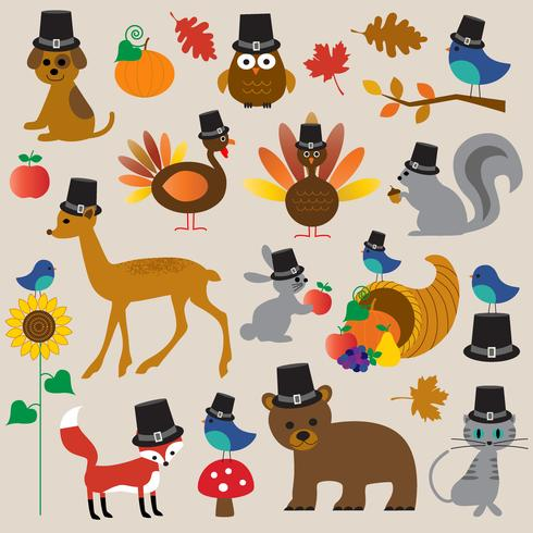 Clipart de animaux de Thanksgiving