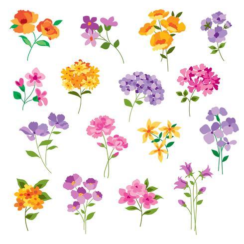 fleurs vectorielles dessinés à la main vecteur