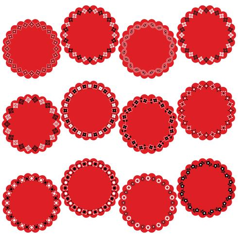 röda svart bandana cirkel ram etiketter