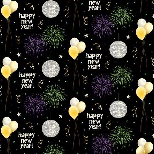 padrão de vetor de véspera de ano novo com balões e fogos de artifício em fundo preto