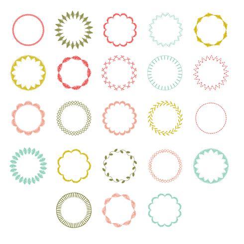 cadres de cercle cousus à la main vecteur
