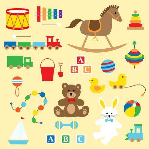 Imágenes clásicas de juguetes para bebés vector