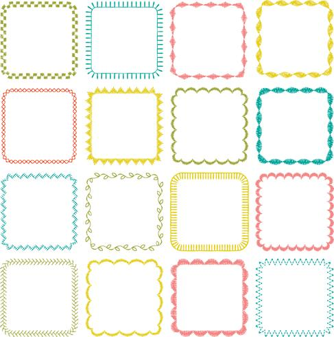 embroidered square frames vector