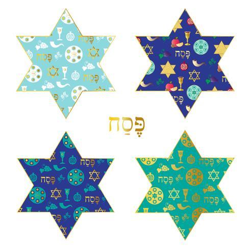 modelli di crociere in oro blu su stelle ebraiche