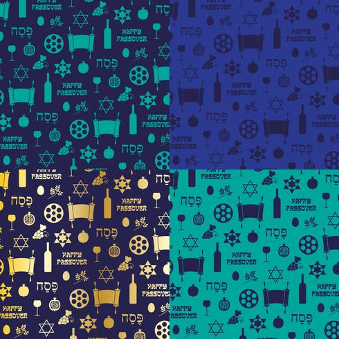 blue and gold Passover background patterns vector