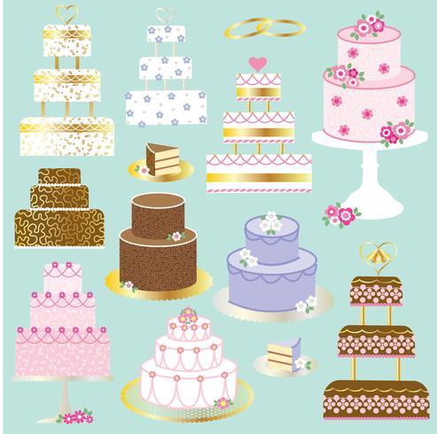 grafica clipart di torte nuziali