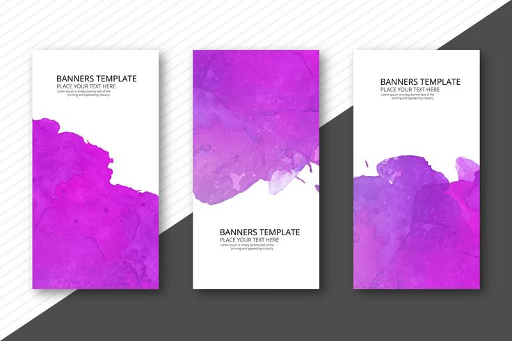 Conjunto de três banners abstratas aquarela colorida design