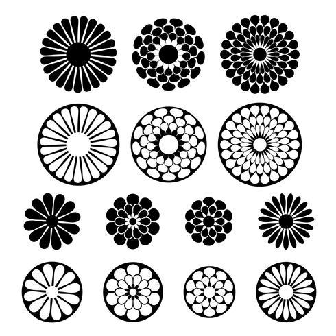 formas de flor vector preto
