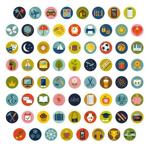 ícones e símbolos coloridos do vetor do círculo
