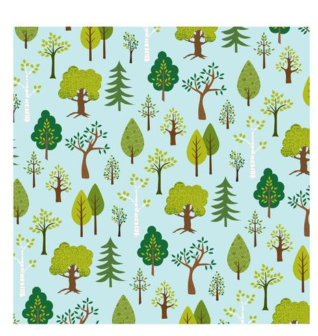trees background pattern on blue vector
