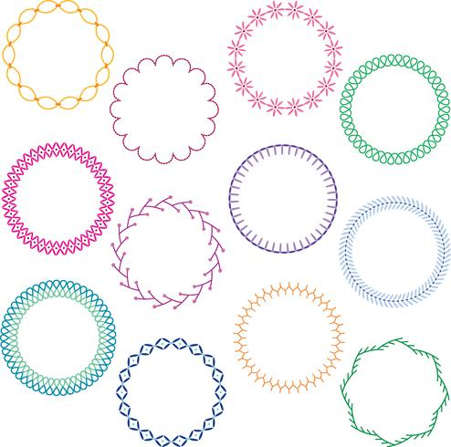 colorful stitched circle frames vector