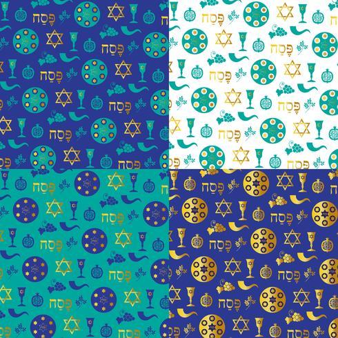 Patrones de fondo de Pascua azul oro vector