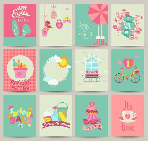 Coleção de 12 modelos de cartão de primavera