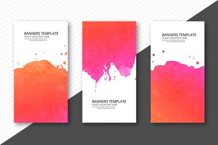 Beautiful soft watercolor headers set template