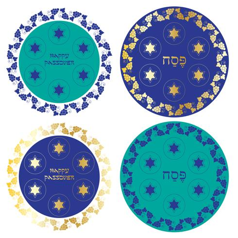 blue and gold Passover seder plates with grapevine border vector