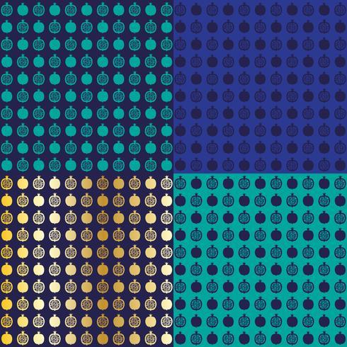 motifs de fond de pâques grenade or bleu