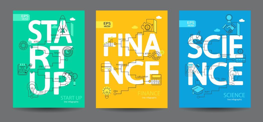 Infographie de la création d'entreprise, de la science et de la finance.