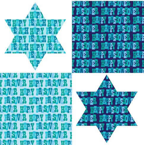 Påsk typografi mönster och judiska stjärnor