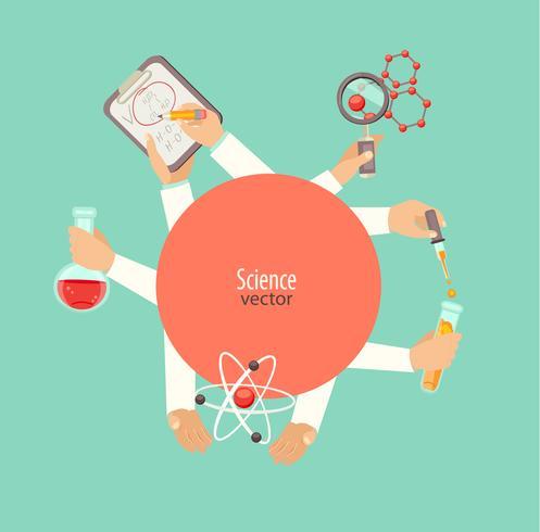 concept van wetenschap en onderwijs cirkel rood