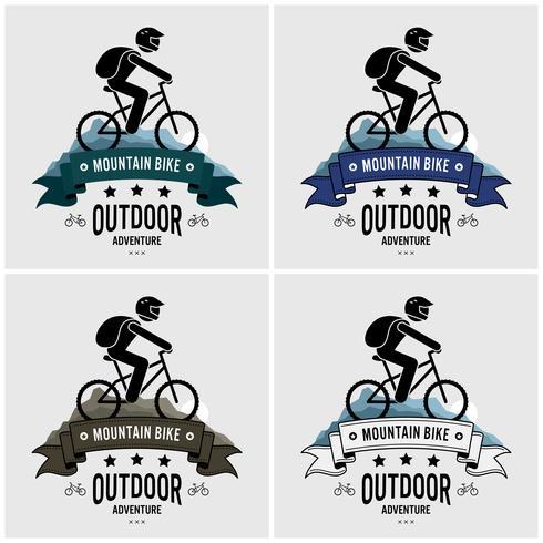 Diseño de logotipo de ciclismo de montaña.