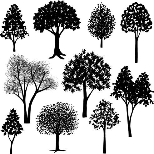 hand drawn trees silhouettes	 vector
