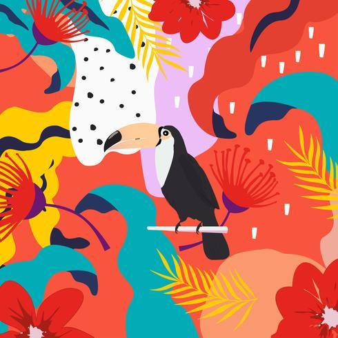 Selva tropical, folhas, e, flores, cartaz, fundo, com, tucano