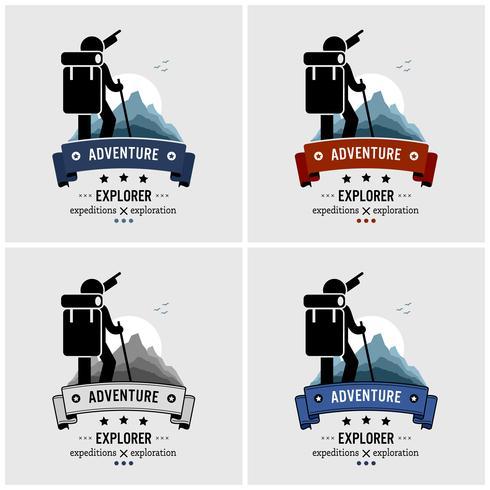 Explorer Backpacker Abenteuer Logo Design. vektor