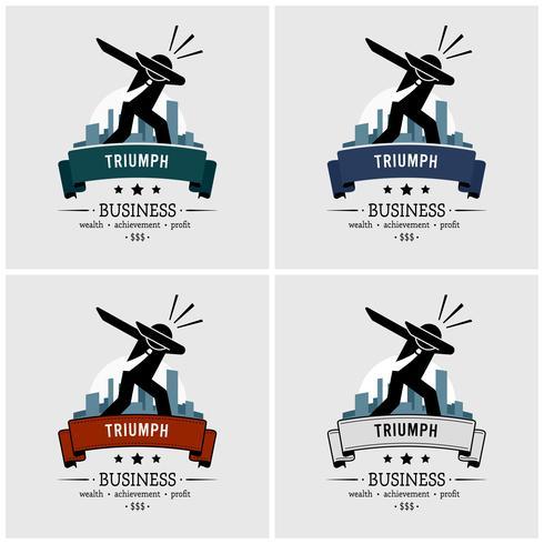 Création de logo tamponner homme d'affaires prospère.
