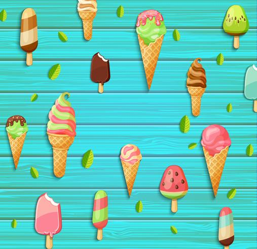 Colorful pattern made of ice cream. vector