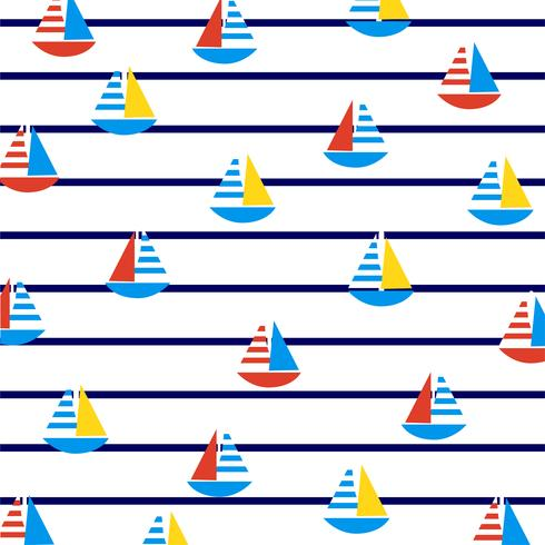 Sailboats on marine stripes.