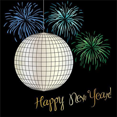 nyårsafton grafisk med disco boll och fyrverkerier