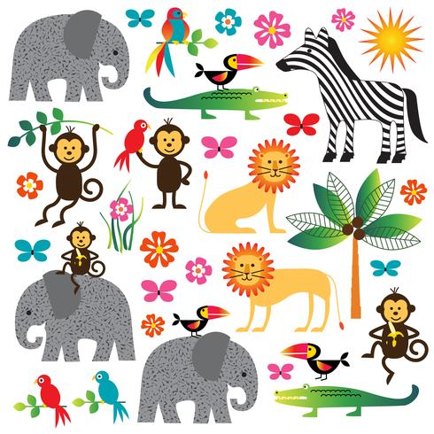 jungle plants and animals clipart