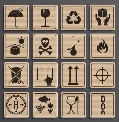 Set van verpakkingen symbolen.