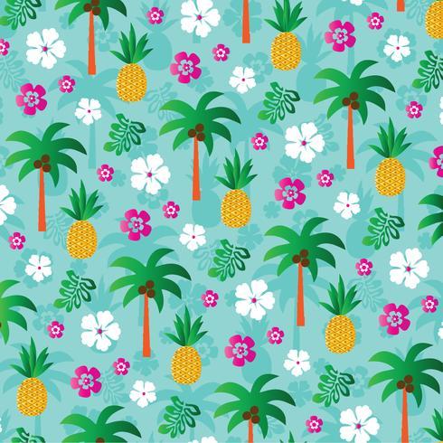 ananas palmboom achtergrondpatroon vector