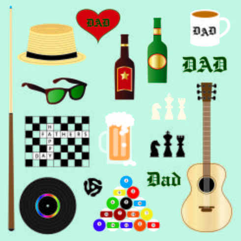 hipster dad father's day clipart vector